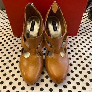White House Black Market Brown Leather Heels